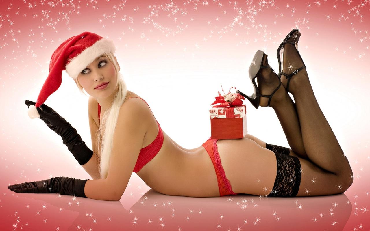 filles sexy cadeau noel en bas noirs